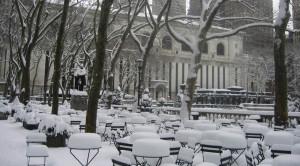 Bryant Park nevado